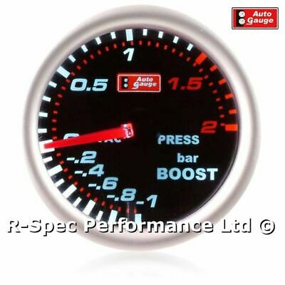 AUTOGAUGE Auto Gauge Mechanical 52mm Smoked Face Faced Turbo Boost Gauge Kit BAR