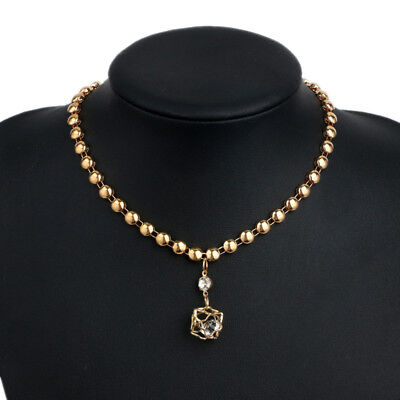 Casual Lady's Round Bead18K Gold Filled Pendants Sweater Chain Necklace Jewelry