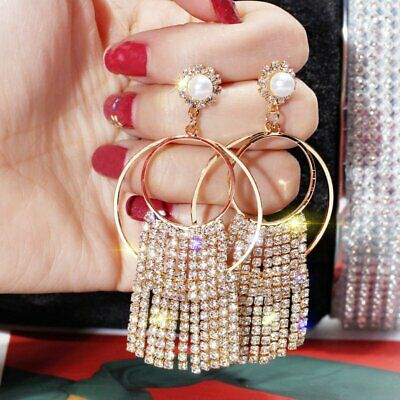 Fashion Luxury Geometric Earrings Women Crystal Tassel Hoop Stud Jewelry Gift
