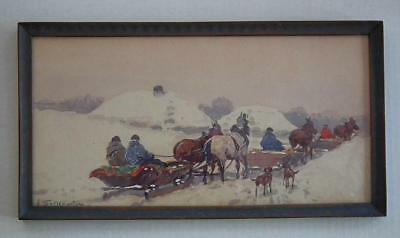 Antique Polish Watercolor Painting by Adam Setkowicz Listed Artist Poland