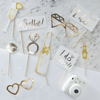 GOLD FOILED PHOTO BOOTH PROPS - I DO CREW, Hen Party, Hen Night Accessories