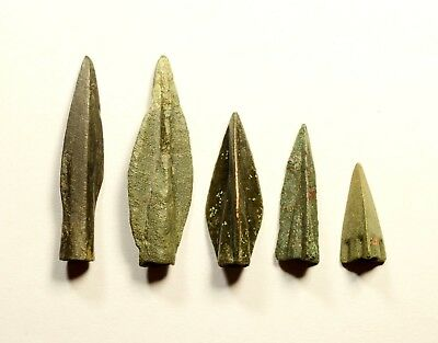 NICE QUALITY - LOT OF 5 Ancient Greek Scythian Arrow Heads Bronze 5th c BC