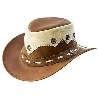 Real Oily Leather Cowboy Bush Hat Western Aussie Style Leather Hat