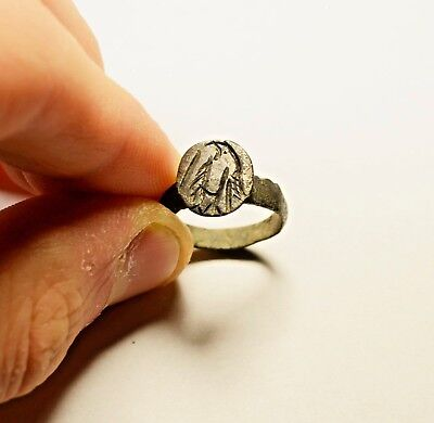 Very Interesting Ancient Ring With Engraved Bird On Bezel - Wearable Artifact