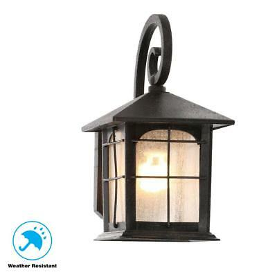 1-Light Wall Lantern Brimfield Vintage Aged Iron Outdoor  Patio Broken Glass
