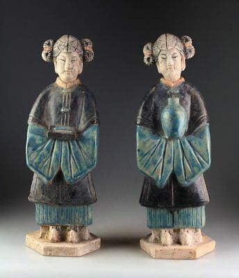 *SC*A NEARLY SUPERB PAIR OF CHINESE POTTERY COURT LADY FIGURES, Ming Dynasty!