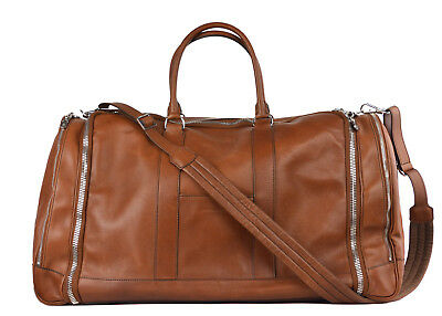 Brunello Cucinelli Men's Brown Leather Travel Fold Up Garment Bag~Retail $4500