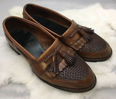 95693a7732cdf ALLEN EDMONDS CODY Brown Leather Tassel Loafer Shoes Size 9.5 D USA Made  Slip On