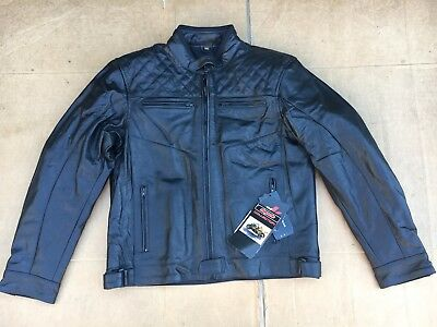 """RK Sport Mens Classic Leather Motorcycle Motorbike Jacket UK 46"""" chest   H22"""
