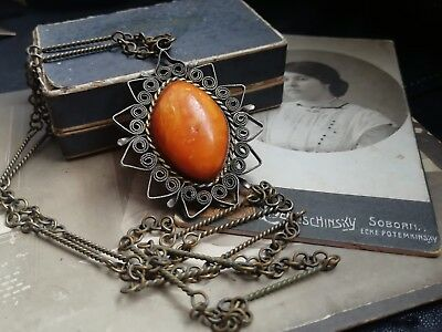 Vintage Baltic Amber jewelry pendant for woman king amber stone necklace 1980