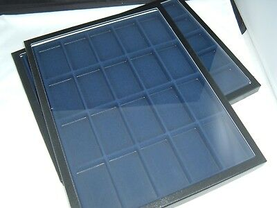 2  jewelry display case riker mount display box shadow box 12X16 blue divided 20