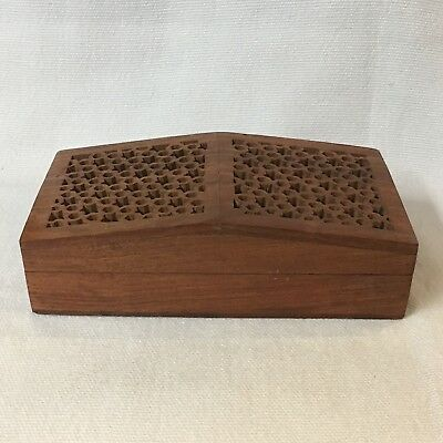 ANTIQUE TOBACCO or HERB DRYING WOODEN BOX ~ HAND MADE AND CARVED INTRICATE TOP