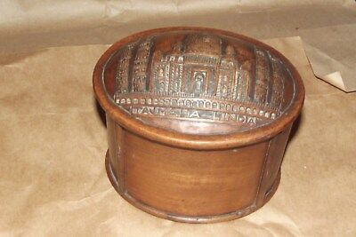 ANTIQUE VINTAGE CARVED WOODEN OVAL BOX indian temple TEA CADDY  trinket box ??