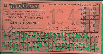 1942 The Long Island R. R. Co. Monthly Ticket Bt. Brooklyn & Center Ave.