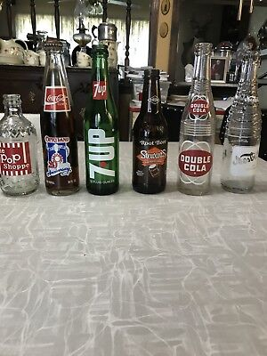 6 Vintage Soda Bottles. The Pop Shoppe, Coca-cola, 7up, Root Beer, Double Cola,