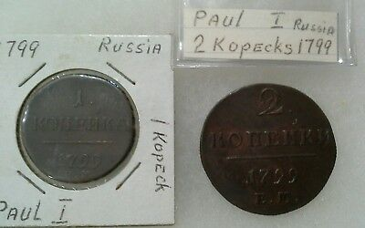 1799 Russian Czar Emperor Paul I Catherine the Great Son 2 Coins  (lot5822)