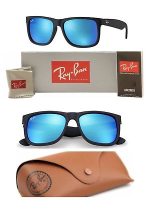 6176b0dfbb Ray-Ban Wayfarer Sunglasses RB4165 Justin Blue Polarized Lens 622 55 Black  Frame