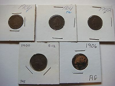 Lot of 5 nice old  Indian Head U.S cent Coins 1906, 1904, 1902, 1900, 1906 #9584