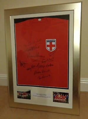 Framed England 1966 World Cup Signed Shirt Signed By 10 Autograph Jersey