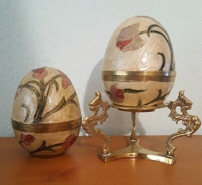Large Vintage Indian Brass Hand Painted Decorative Eggs With Stand