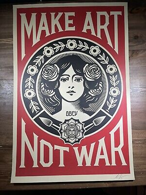 Shepard Fairey Obey Giant MAKE ART NOT WAR Art Print Poster Signed  24x36