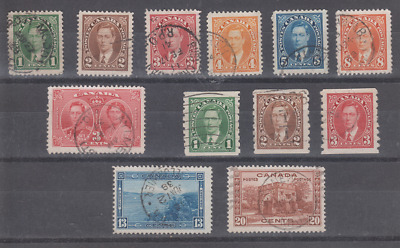 Canada Scott 231-243 - Used Kgvi 12 Different Including Coil Set - Cv $4.95