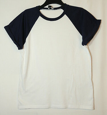 White Navy Blue Ladies Casual Top T-Shirt Size 12 Stretch Asos
