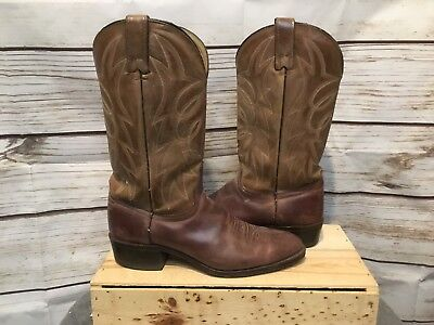 Vtg Mens Texas Cowboy Work Leather Brown Boots Size 9 D