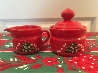 Waechtersbach Red Christmas Tree Creamer and Sugar with Lid Germany