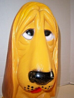 "vintage 13"" hard plastic sad Basset Hound coin bank with stopper (1971)"