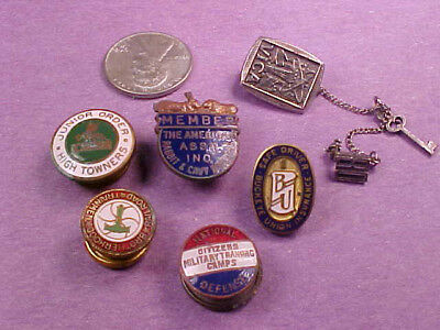 Six Fraternal Military Service And Award Pins