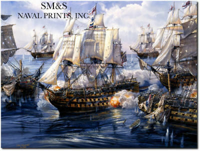 """Lord Nelson/'s HMS Victory 1805 /""""England/'s Wooden Walls/"""" Tom Freeman Print"""