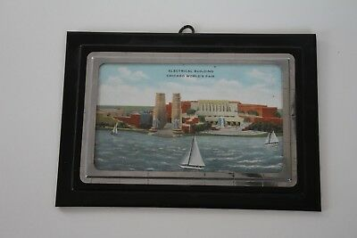 1933 Chicago World's Fair Souvenir Framed Postcard Black & Silver Art Deco Frame