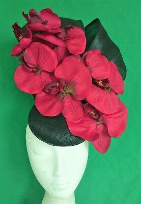 Red Black Orchid Flowers Fascinator Silk Bows Hat Wedding Melbourne Cup