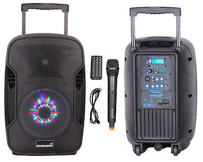 STARAUDIO 1500W 10 Inch Rechargeable Battery Bluetooth DJ Speaker UHF Microphone
