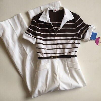 Vintage 1970s R & K Jumpsuit Frederick & Nelson NWT New Medium Brown White Bell