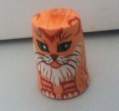 Russian Сollectible Handpainted Decorative Wood Thimble Orange Kitten Cat Tiger?