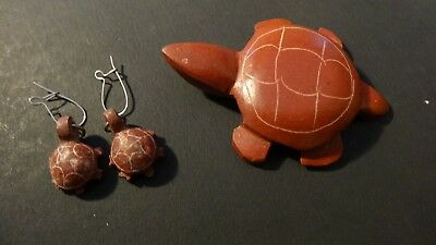 Vintage American Sioux Indian Pipestone Turtle and Earrings - Minnesota - Signed