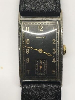 Vintage Mulco Curved Tank Wrist Watch 1930s Black Dial Art Deco 15 Jewel Working
