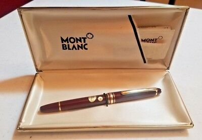 Burgundy Montblanc MEISTERSTUCK 4810 FOUNTAIN Pen 14KT Gold Tip & Case W Germany