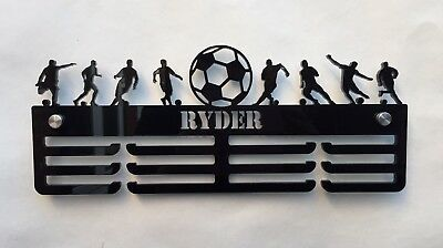 Thick 5mm Acrylic 3 Tier Personalised FOOTBALL Medal Hanger /Rack With Standoffs
