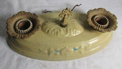 Antique Vintage Victorian Flush Mount Double Light Ceiling Fixture Art Nouveau