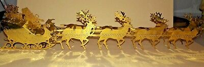 Solid Brass Santa's Sleigh and Reindeer, Christmas Decorations