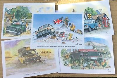 5 Land Rover Defender Range Rover Post Cards Land Rover Enthusiast Peter Wilford