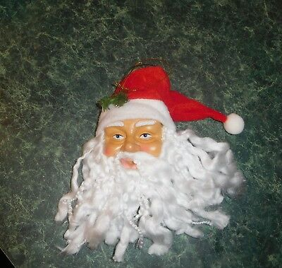 "Santa Head Christmas tree Ornament shaggy beard 9"" old world face"