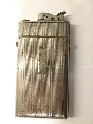 Antique Chrome Plated Cigarette Case And Lighter