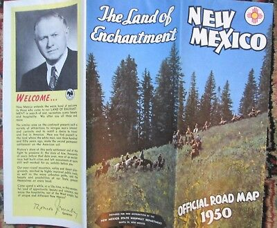 VTG 1950 New Mexico Official Road Map Travel Tourist State Highway Department