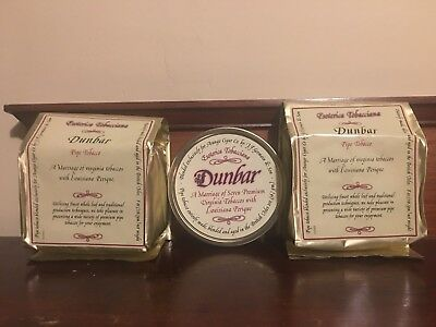 Esoterica Dunbar two 8oz bags and a tin sealed tobacco