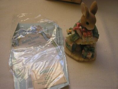 """Enesco My Blushing Bunnies """"Bless Some-Bunny With Holiday Cheer"""" 386901 with COA"""