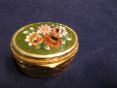 Millefiori Top Small Oval Goldtone Metal Pill Box Green Background Pink Flowers